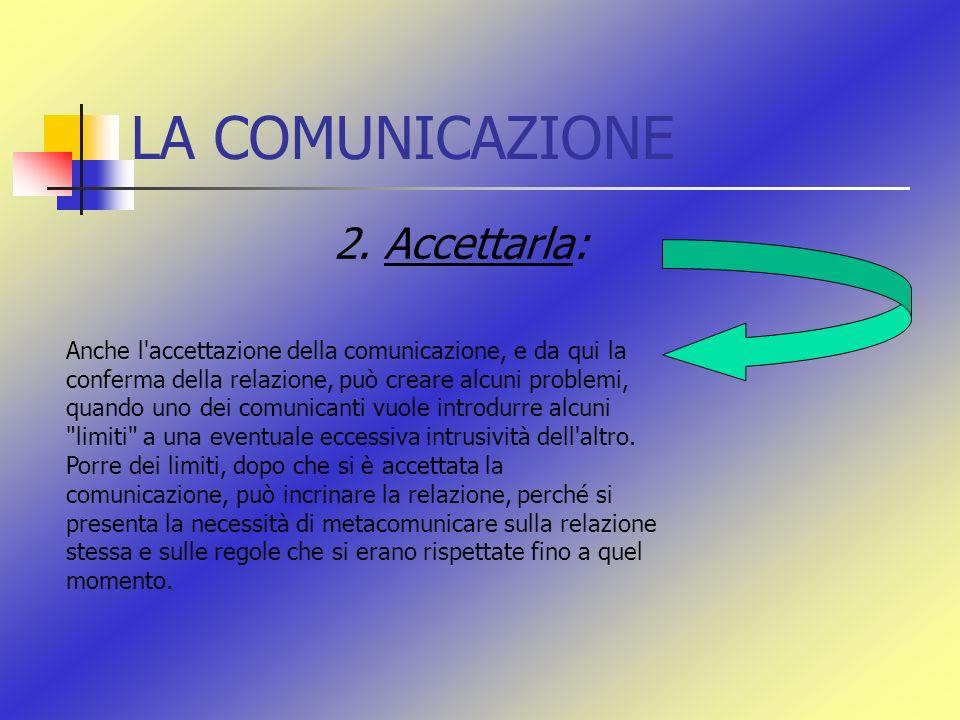 LA COMUNICAZIONE 2. Accettarla: