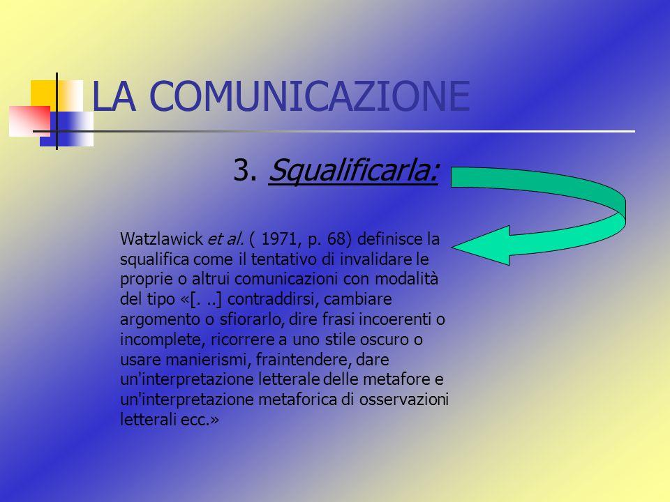 LA COMUNICAZIONE 3. Squalificarla: