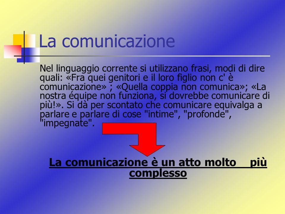 La comunicazione è un atto molto più complesso