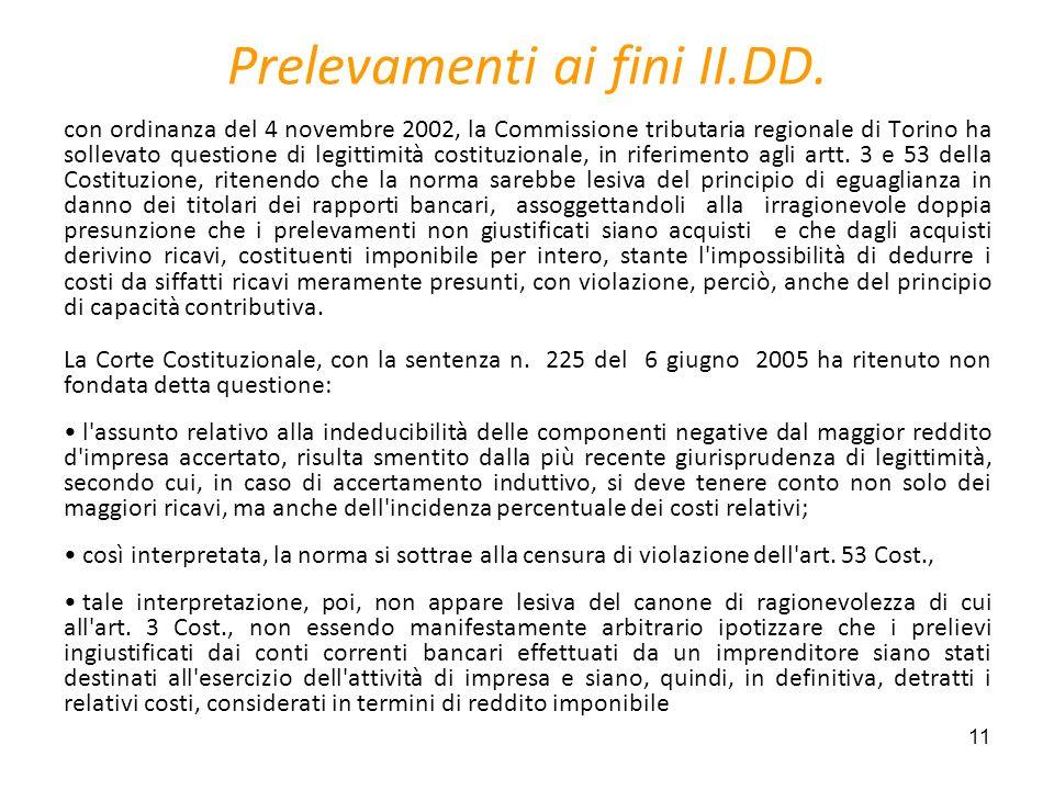 Prelevamenti ai fini II.DD.