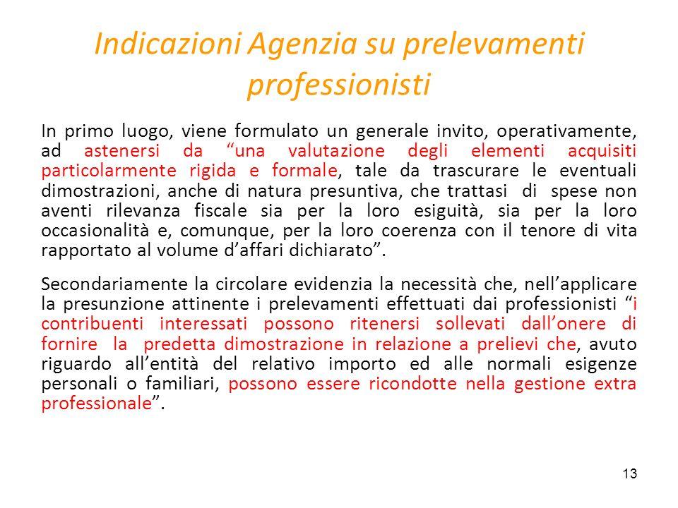 Indicazioni Agenzia su prelevamenti professionisti