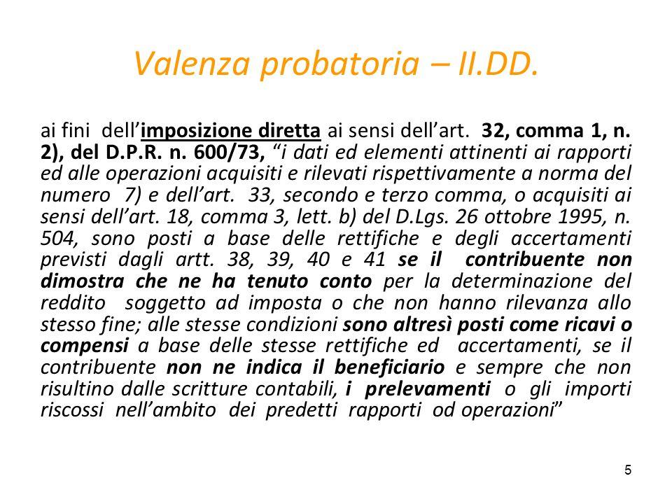 Valenza probatoria – II.DD.