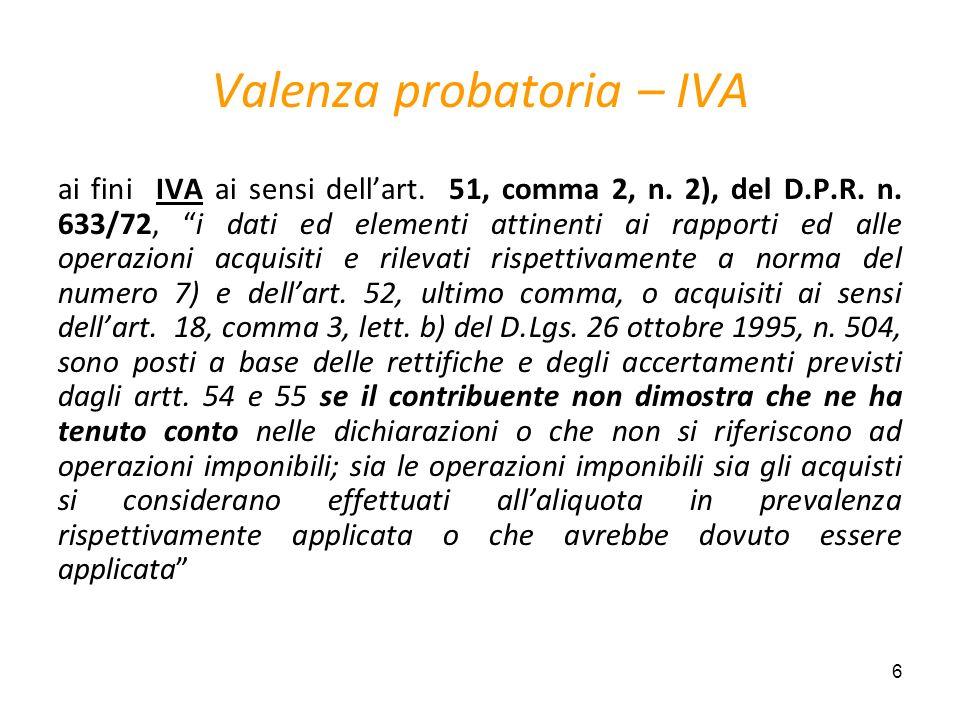 Valenza probatoria – IVA