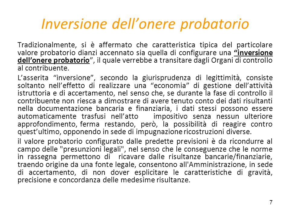 Inversione dell'onere probatorio