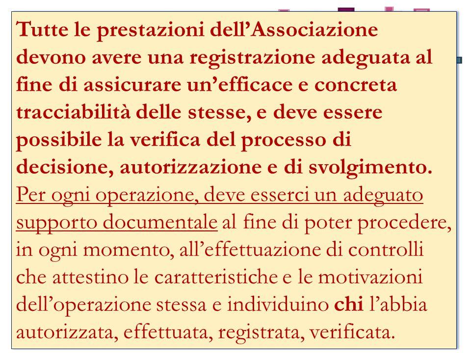 Tutte le prestazioni dell'Associazione devono avere una registrazione adeguata al fine di assicurare un'efficace e concreta tracciabilità delle stesse, e deve essere possibile la verifica del processo di decisione, autorizzazione e di svolgimento.