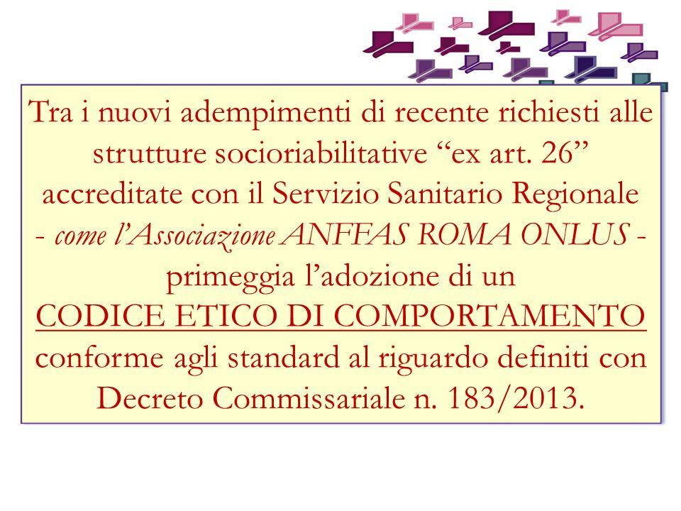 come l'Associazione ANFFAS ROMA ONLUS - primeggia l'adozione di un