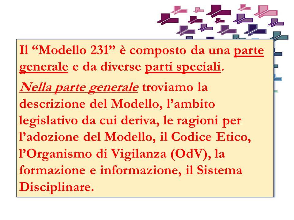 Il Modello 231 è composto da una parte generale e da diverse parti speciali.