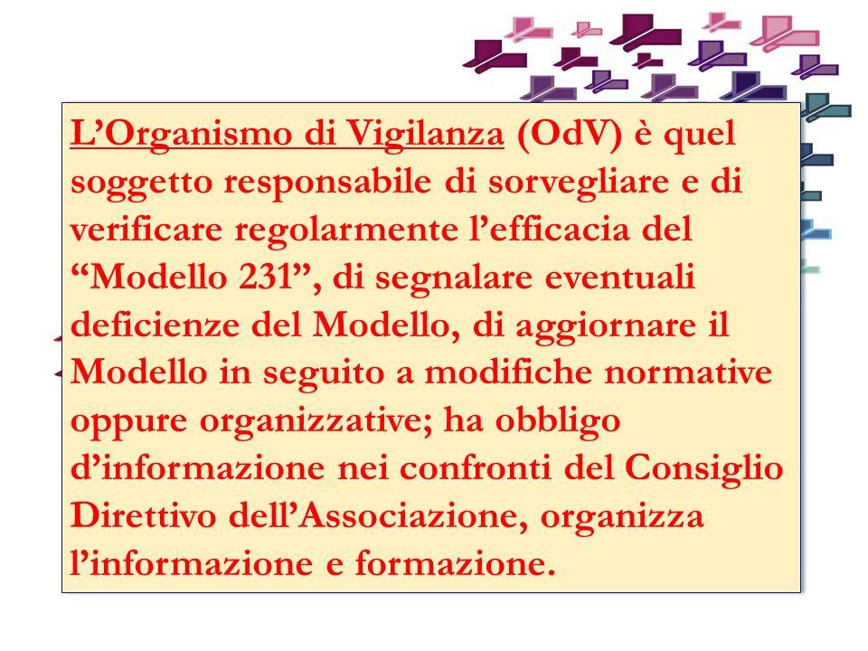 L'Organismo di Vigilanza (OdV) è quel soggetto responsabile di sorvegliare e di verificare regolarmente l'efficacia del Modello 231 , di segnalare eventuali deficienze del Modello, di aggiornare il Modello in seguito a modifiche normative oppure organizzative; ha obbligo d'informazione nei confronti del Consiglio Direttivo dell'Associazione, organizza l'informazione e formazione.