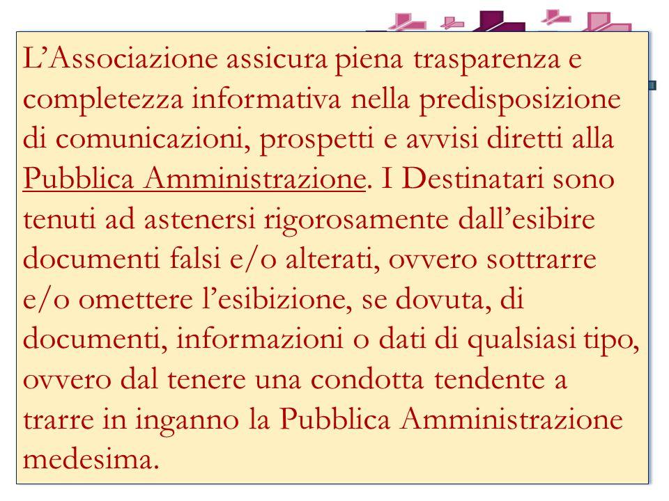 L'Associazione assicura piena trasparenza e completezza informativa nella predisposizione di comunicazioni, prospetti e avvisi diretti alla Pubblica Amministrazione.