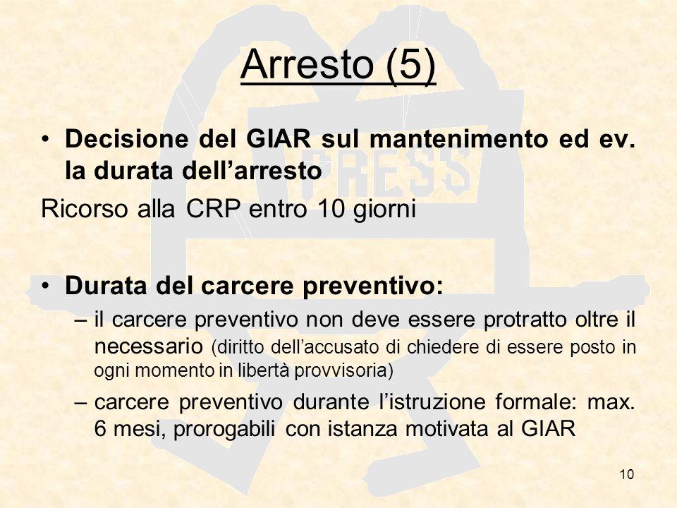 Arresto (5) Decisione del GIAR sul mantenimento ed ev. la durata dell'arresto. Ricorso alla CRP entro 10 giorni.