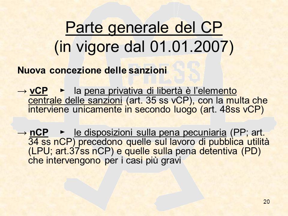 Parte generale del CP (in vigore dal 01.01.2007)