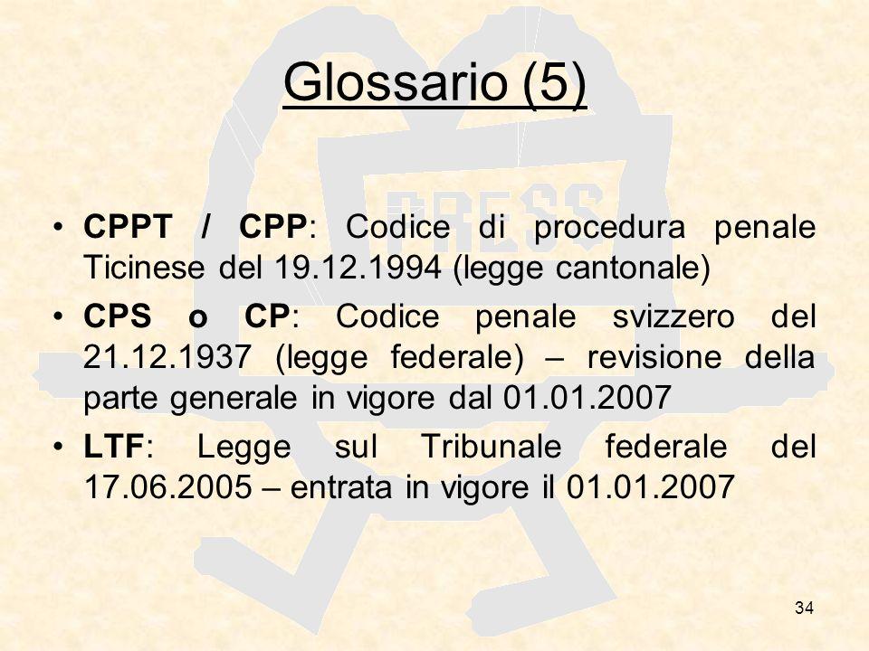 Glossario (5) CPPT / CPP: Codice di procedura penale Ticinese del 19.12.1994 (legge cantonale)
