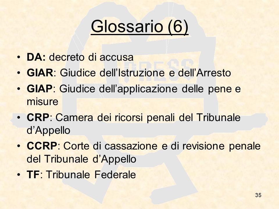 Glossario (6) DA: decreto di accusa