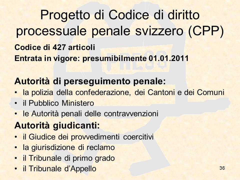 Progetto di Codice di diritto processuale penale svizzero (CPP)