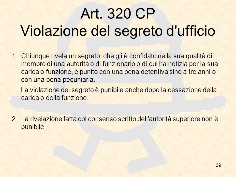 Art. 320 CP Violazione del segreto d ufficio
