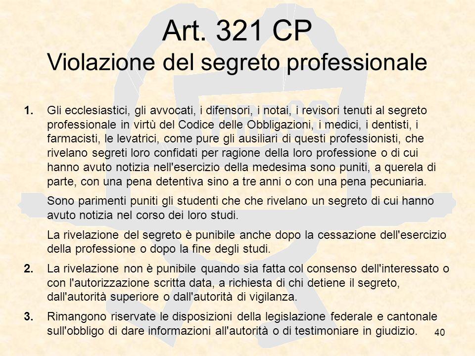 Art. 321 CP Violazione del segreto professionale