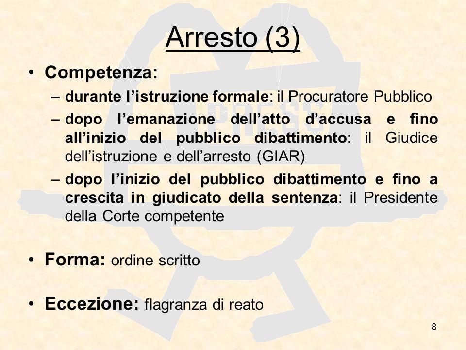 Arresto (3) Competenza: Forma: ordine scritto