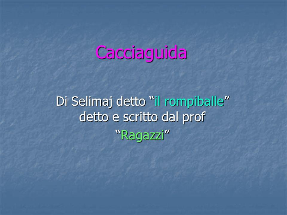Di Selimaj detto il rompiballe detto e scritto dal prof Ragazzi