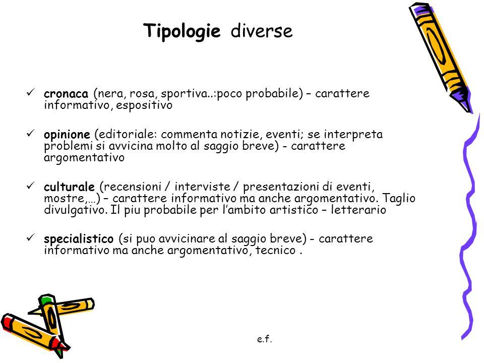 Tipologie diverse cronaca (nera, rosa, sportiva..:poco probabile) – carattere informativo, espositivo.