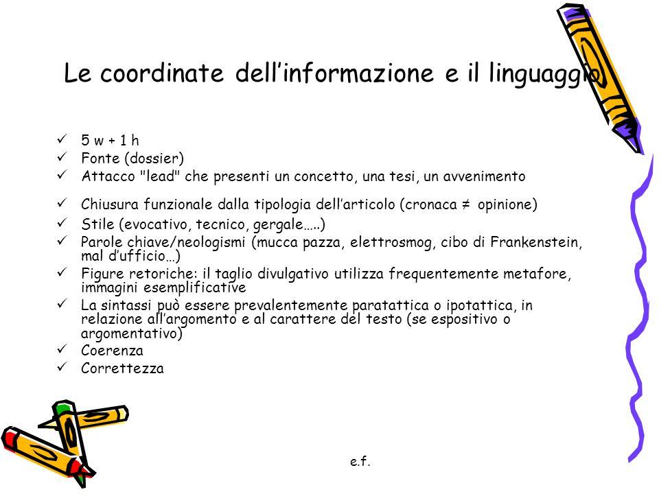 Le coordinate dell'informazione e il linguaggio