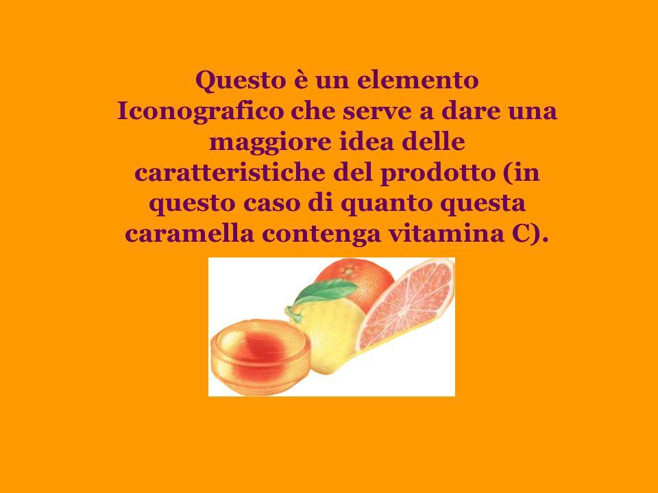 Questo è un elemento Iconografico che serve a dare una maggiore idea delle caratteristiche del prodotto (in questo caso di quanto questa caramella contenga vitamina C).