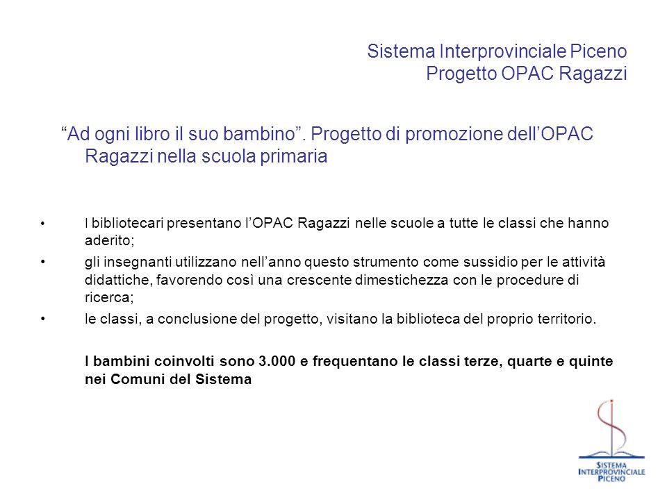 Sistema Interprovinciale Piceno Progetto OPAC Ragazzi