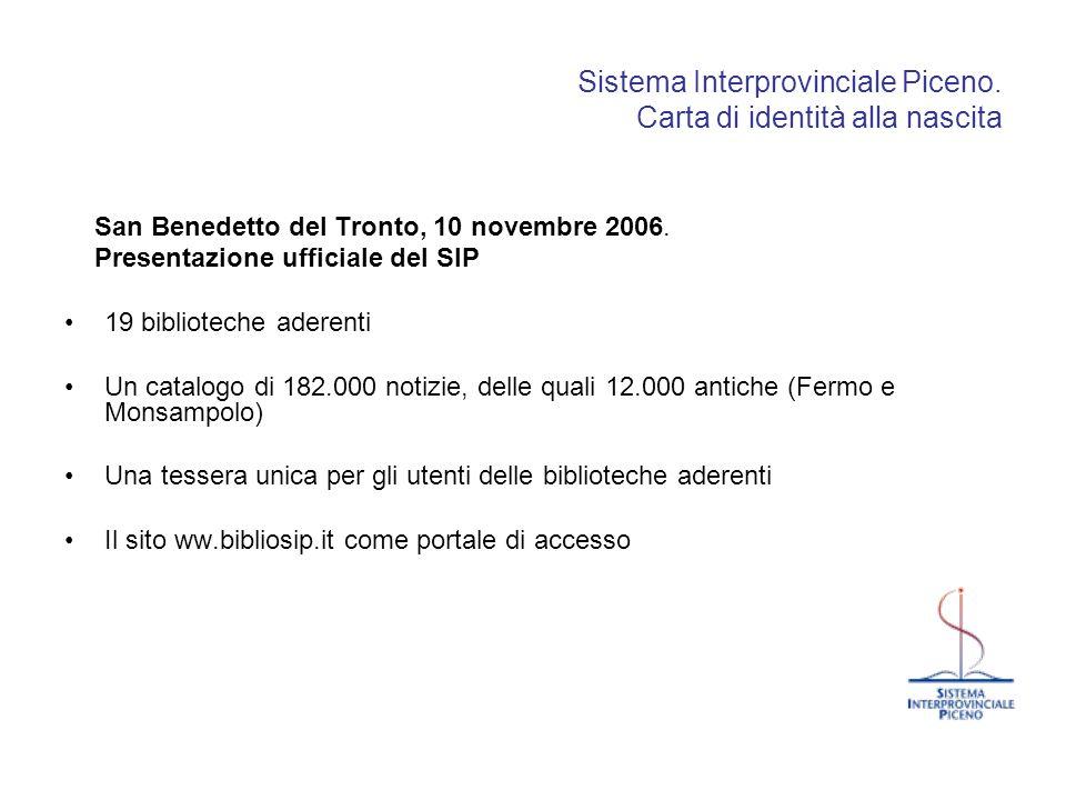 Sistema Interprovinciale Piceno. Carta di identità alla nascita