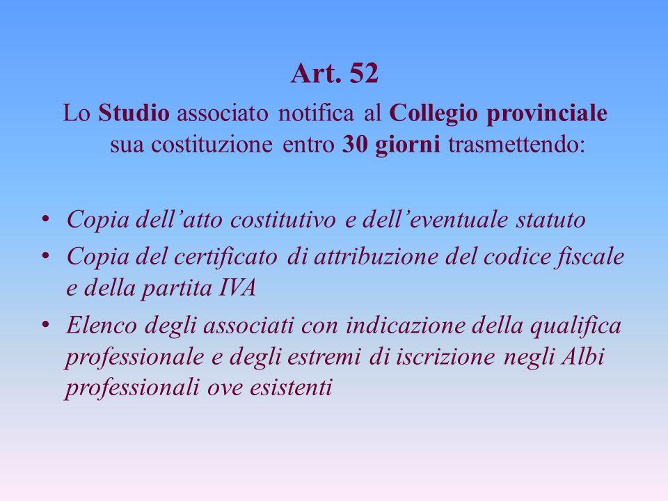 Art. 52 Lo Studio associato notifica al Collegio provinciale sua costituzione entro 30 giorni trasmettendo: