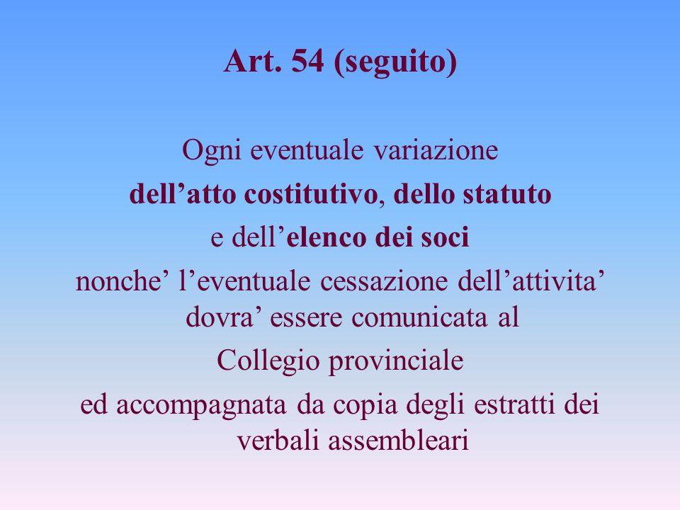 Art. 54 (seguito) Ogni eventuale variazione