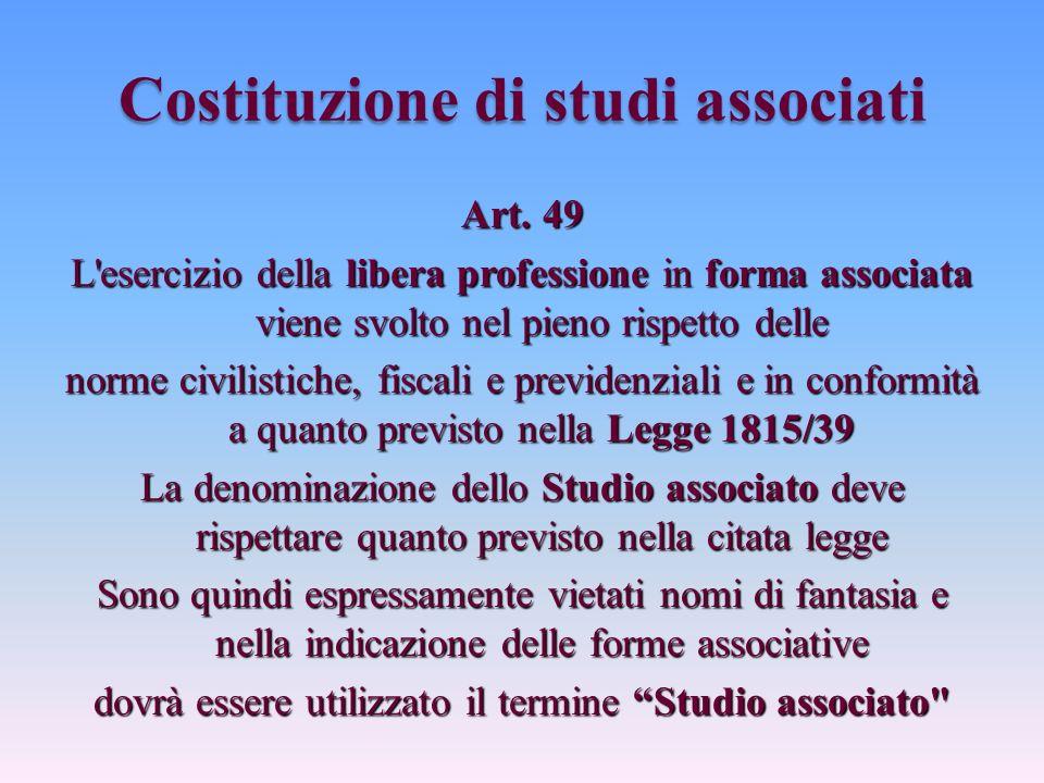 Costituzione di studi associati