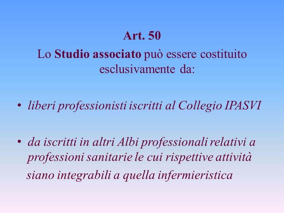 Lo Studio associato può essere costituito esclusivamente da: