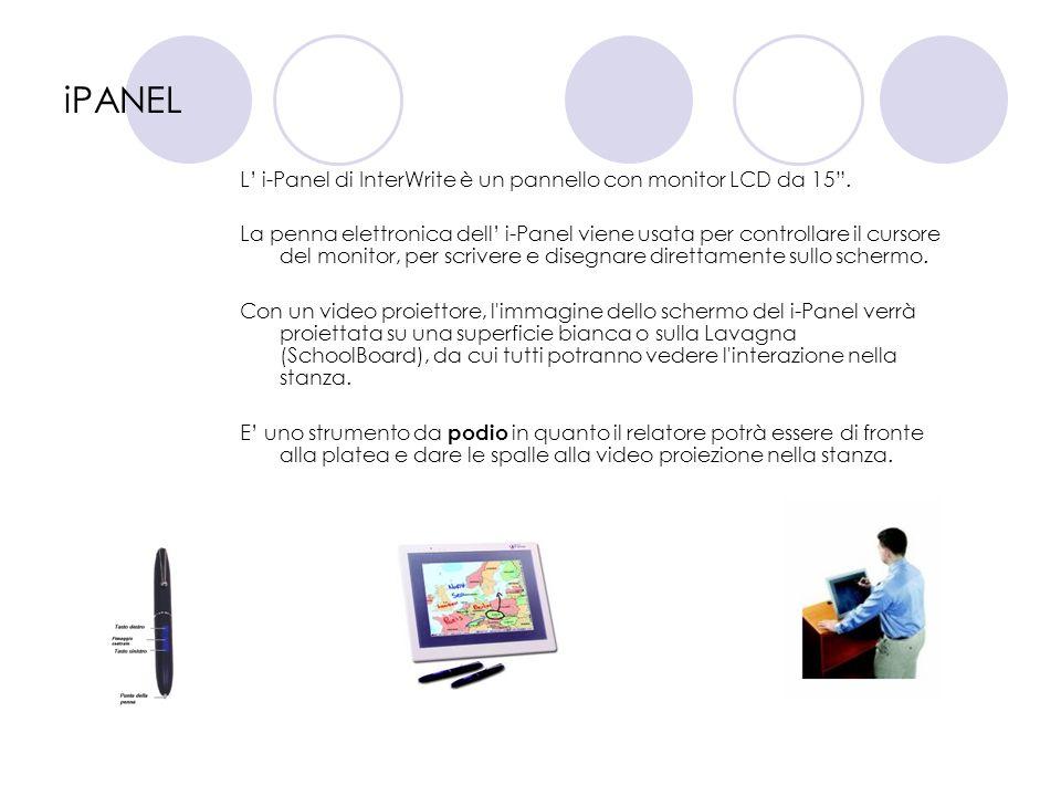 iPANEL L' i-Panel di InterWrite è un pannello con monitor LCD da 15 .