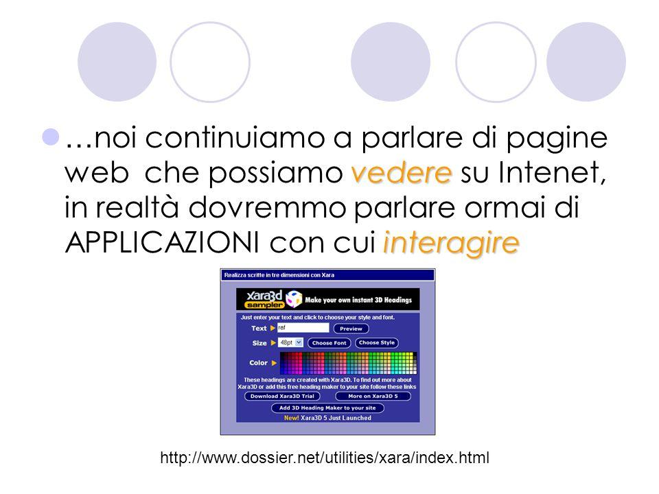 …noi continuiamo a parlare di pagine web che possiamo vedere su Intenet, in realtà dovremmo parlare ormai di APPLICAZIONI con cui interagire