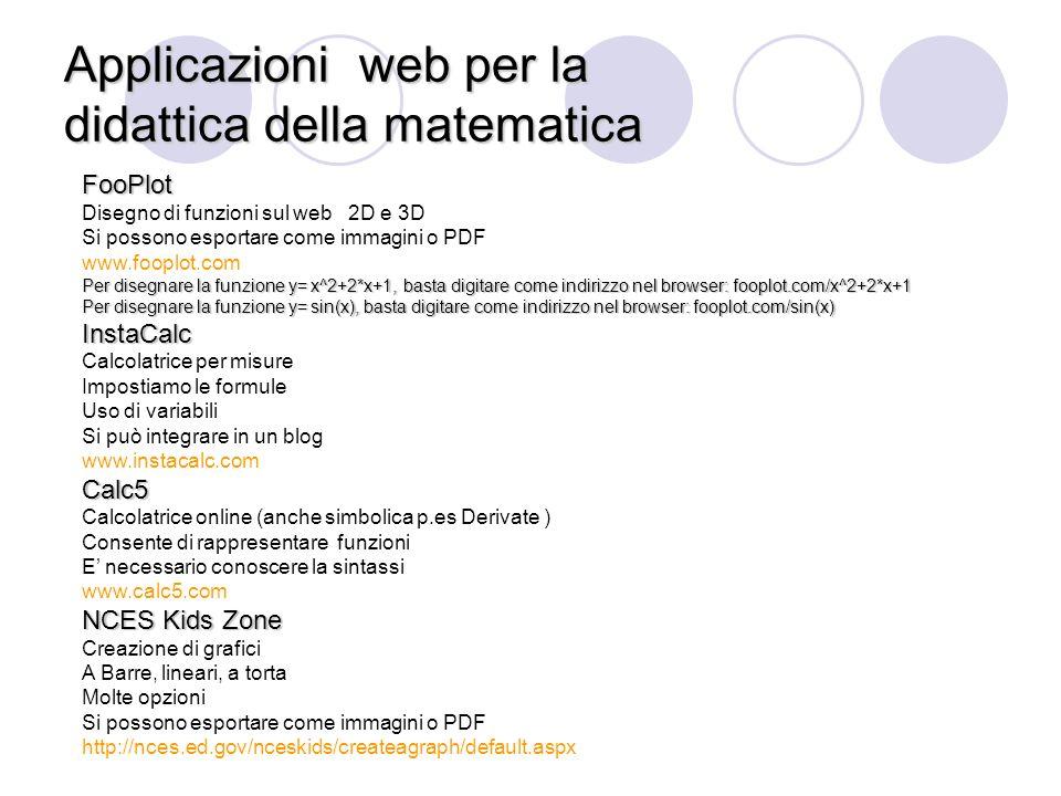 Applicazioni web per la didattica della matematica
