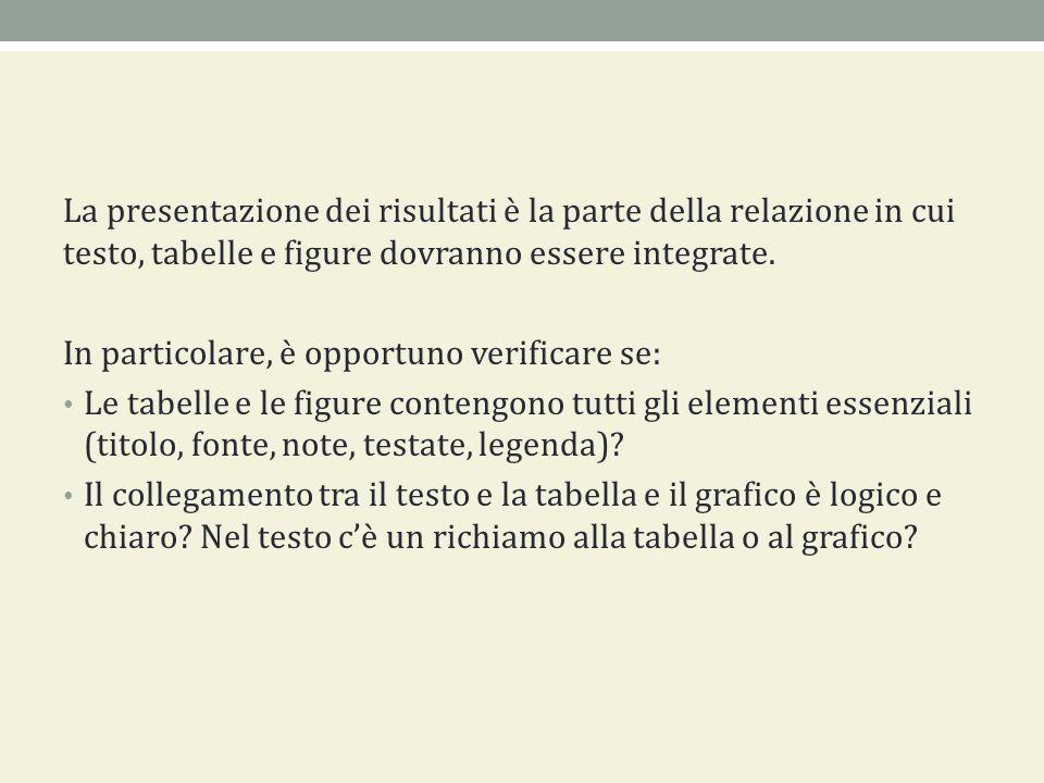 La presentazione dei risultati è la parte della relazione in cui testo, tabelle e figure dovranno essere integrate.