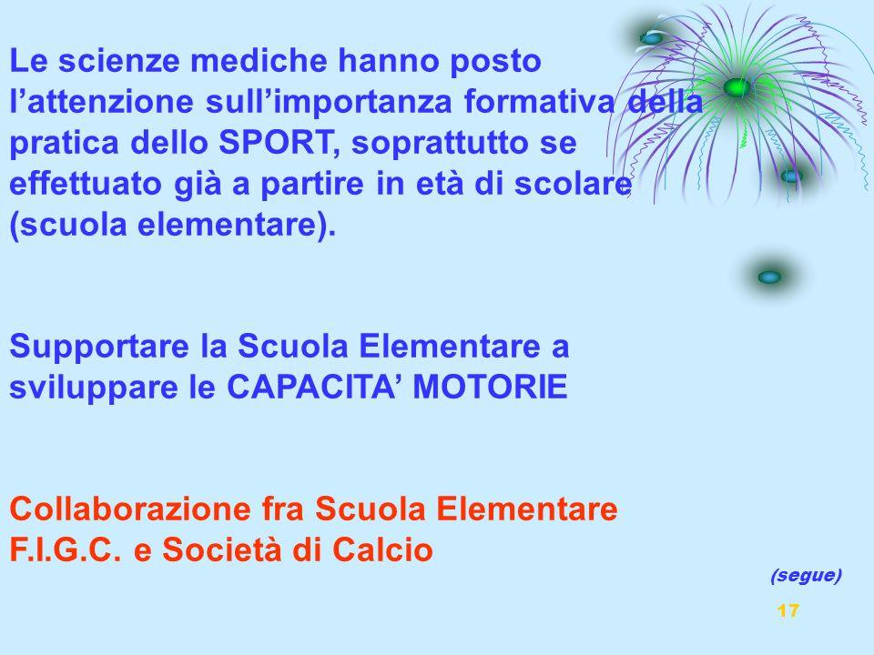 Supportare la Scuola Elementare a sviluppare le CAPACITA' MOTORIE