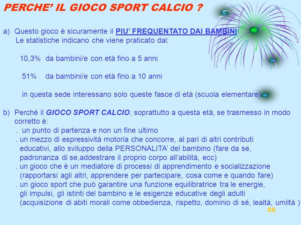 PERCHE' IL GIOCO SPORT CALCIO