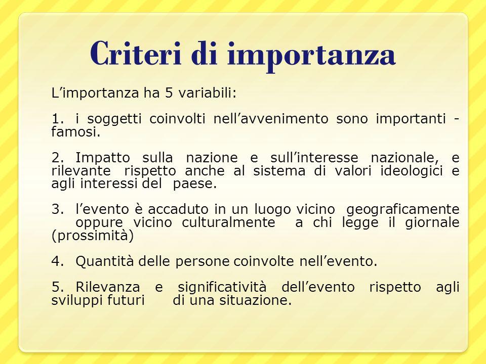 Criteri di importanza