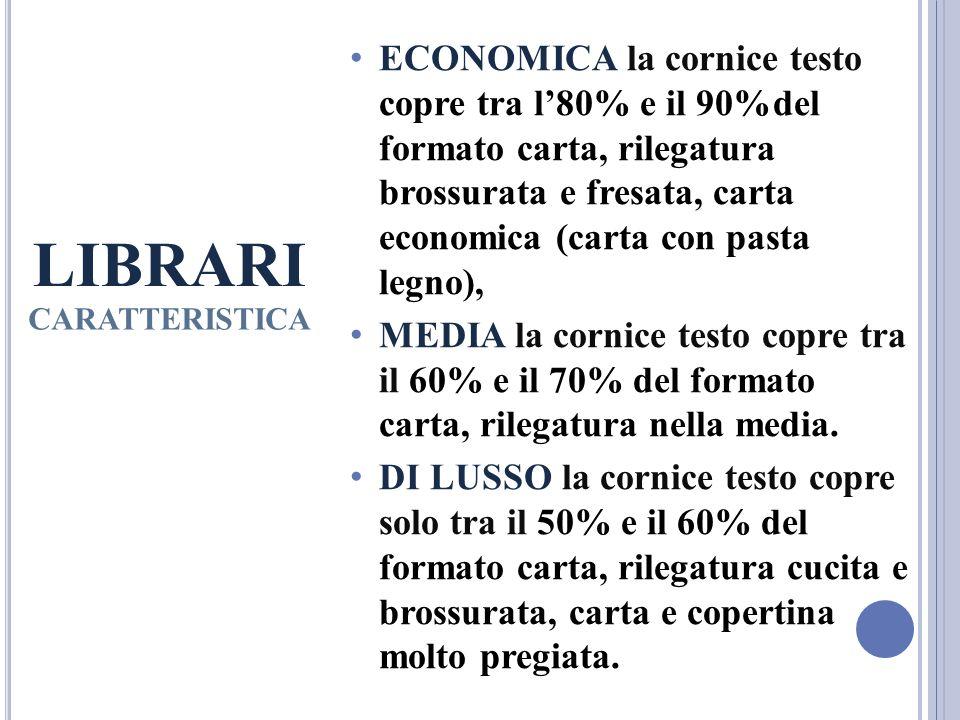 ECONOMICA la cornice testo copre tra l'80% e il 90%del formato carta, rilegatura brossurata e fresata, carta economica (carta con pasta legno),