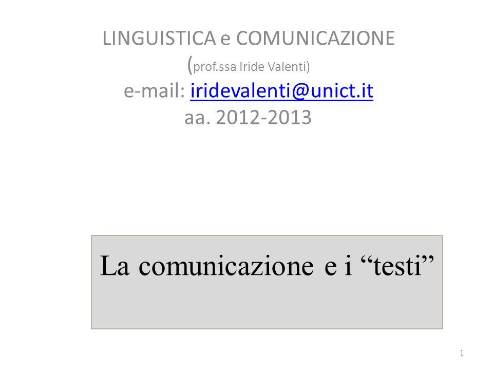 La comunicazione e i testi