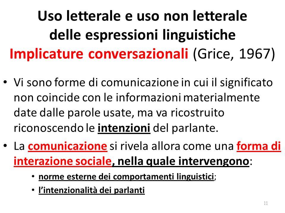 Uso letterale e uso non letterale delle espressioni linguistiche Implicature conversazionali (Grice, 1967)