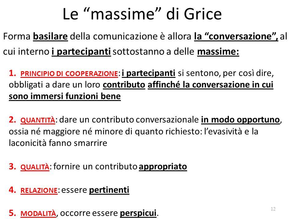 Le massime di Grice Forma basilare della comunicazione è allora la conversazione , al cui interno i partecipanti sottostanno a delle massime: