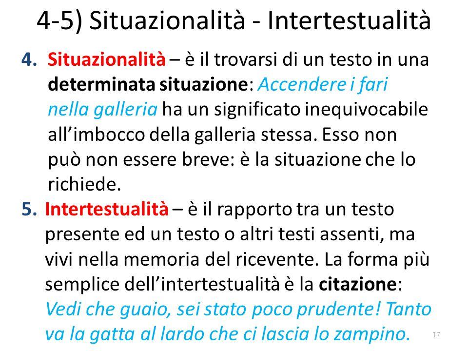 4-5) Situazionalità - Intertestualità