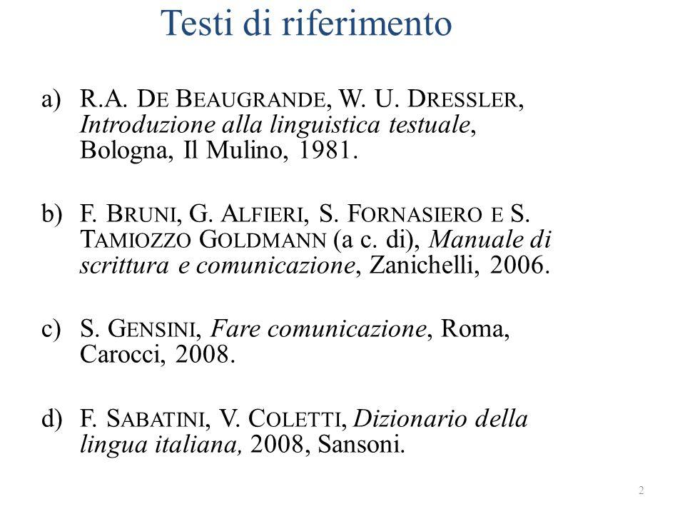 Testi di riferimento R.A. De Beaugrande, W. U. Dressler, Introduzione alla linguistica testuale, Bologna, Il Mulino, 1981.