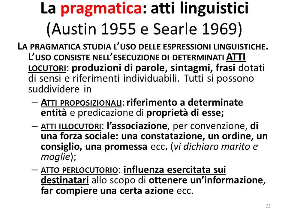 La pragmatica: atti linguistici (Austin 1955 e Searle 1969)