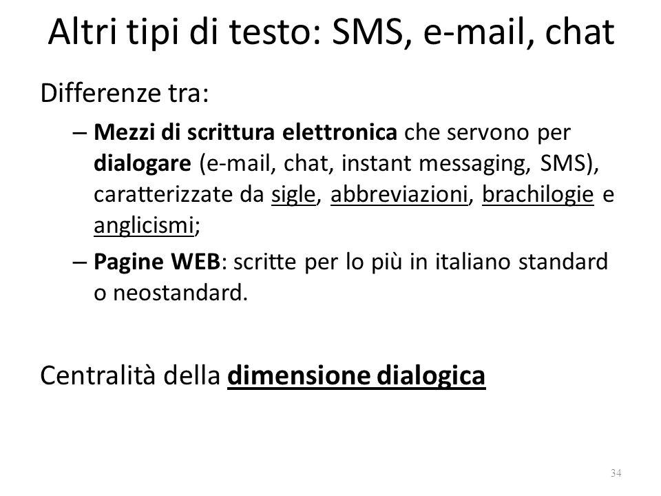 Altri tipi di testo: SMS, e-mail, chat