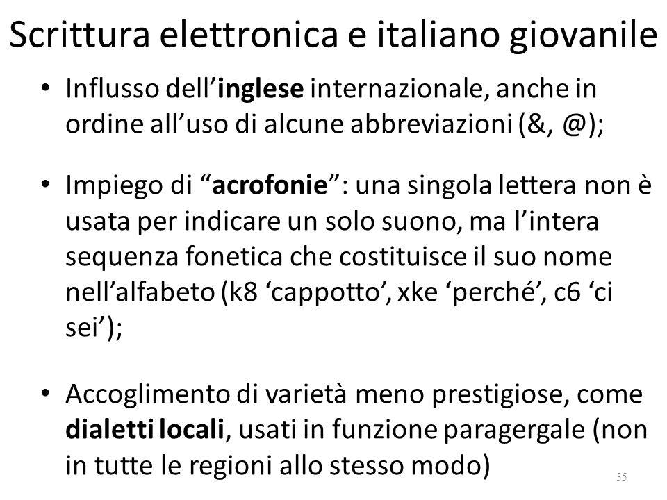 Scrittura elettronica e italiano giovanile