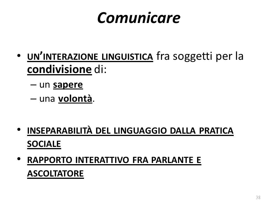 Comunicare un'interazione linguistica fra soggetti per la condivisione di: un sapere. una volontà.