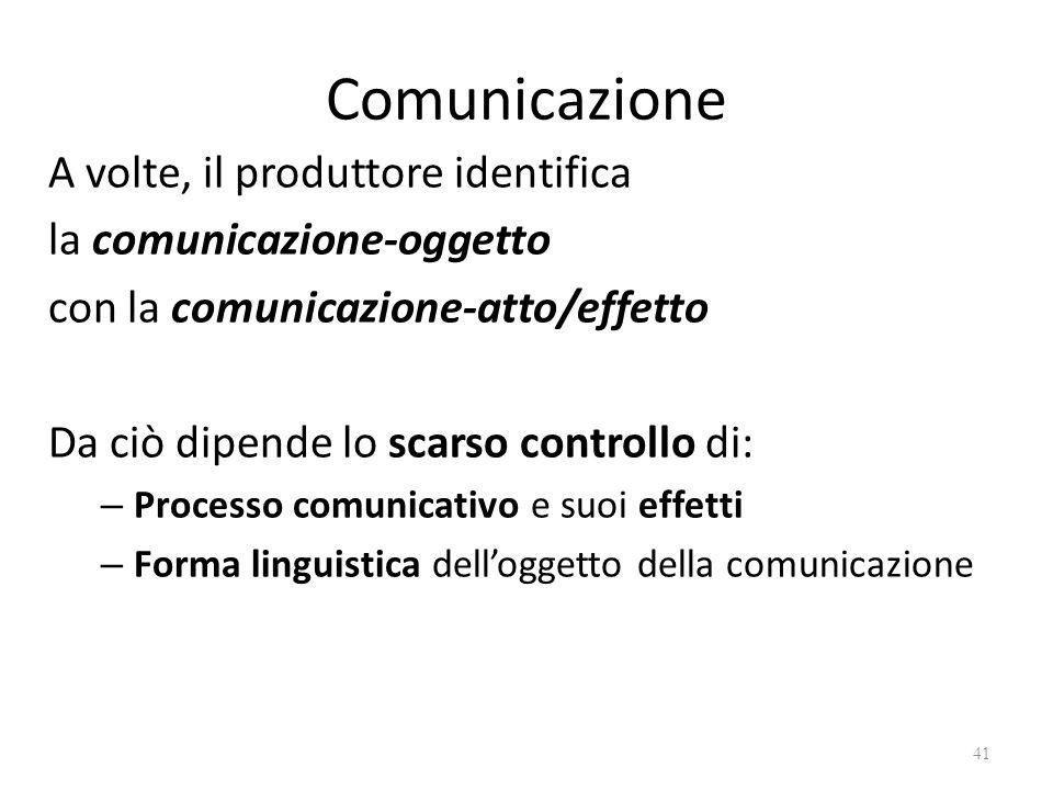 Comunicazione A volte, il produttore identifica