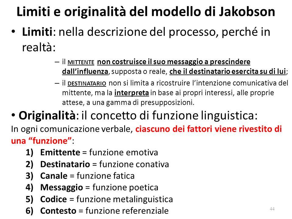 Limiti e originalità del modello di Jakobson
